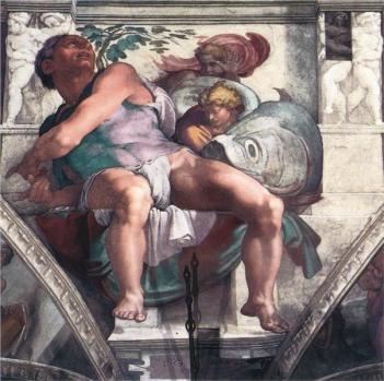 Jonah, detail, Sistine Chapel ceiling.