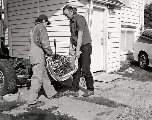 Jeff Wall, Men Move an Engine Block. (2008)