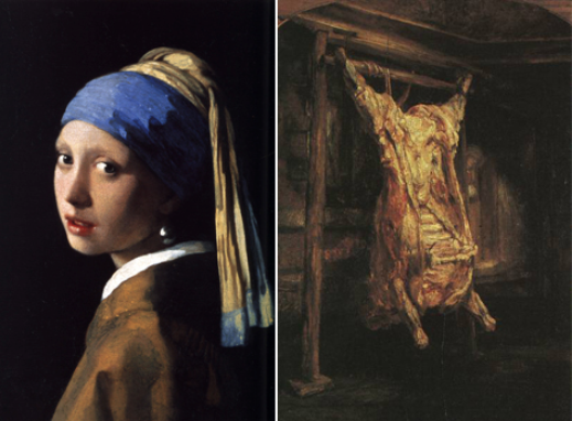 L, Johannes Vermeer, Girl with a Pearl Earring (1665). R, Rembrant Harmenszoon van Rijn, Carcass of Beef (1655)
