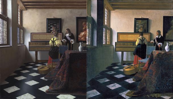 On left, Tim Jenison's fake Vermeer. On right, Johannes Vermeer's original The Music Lesson